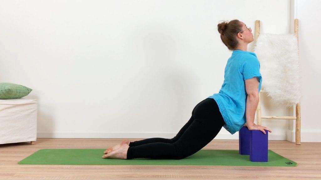 yoga met blokken handen op blok